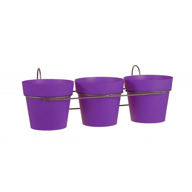 Lot 3 pots prune + support - 1,1 litres - Toscane 11460 EDA PLASTIQUES