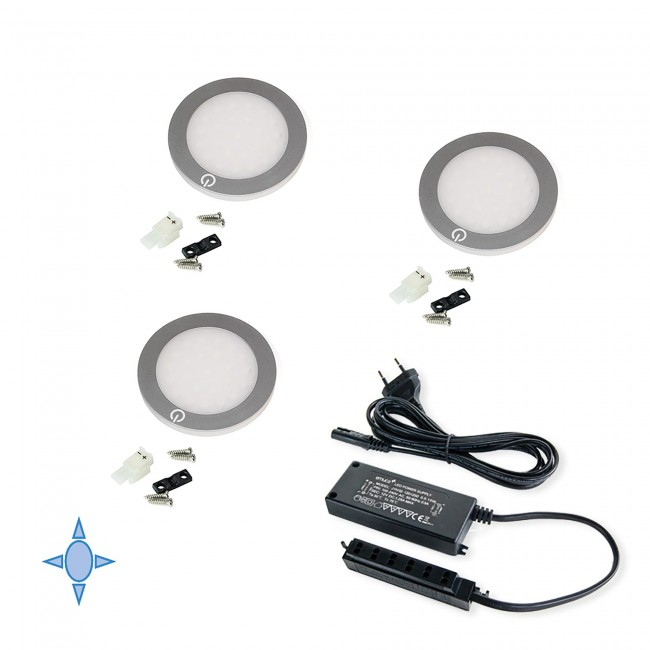 Kit de 3 spots LED ultra plats Hidra - gris métallisé EMUCA