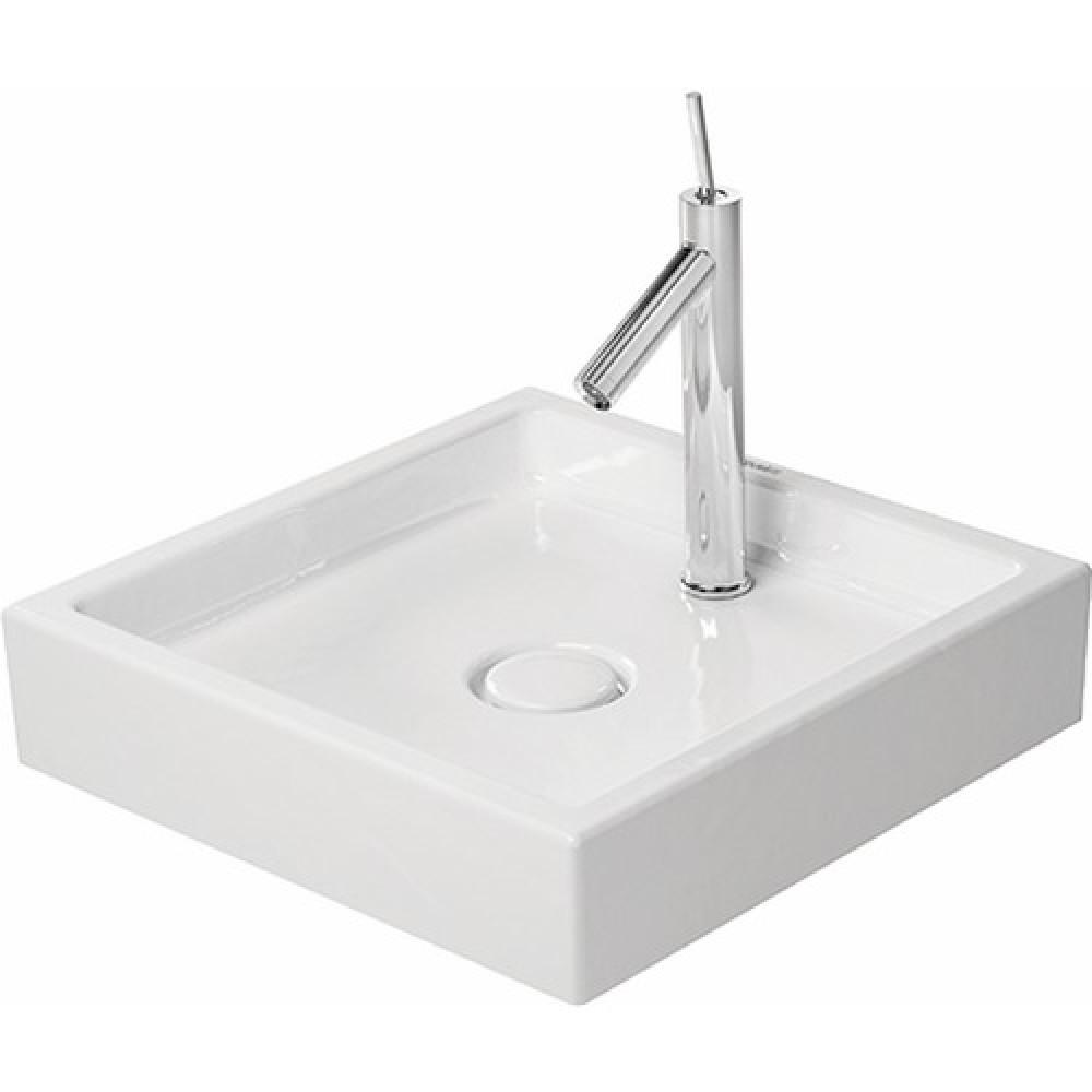 Vasque poser blanche en c ramique blanche 47 x 47 cm starck 1 duravit bricozor - Vasque een poser duravit ...