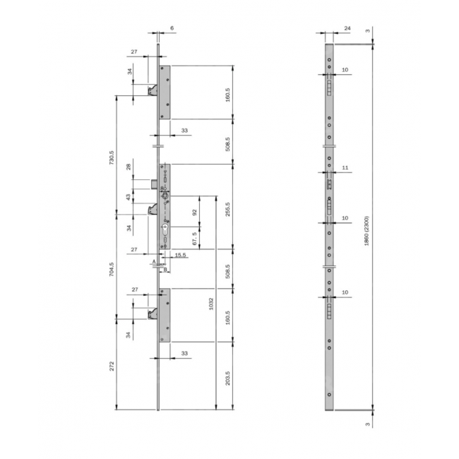 serrure larder 3 points t ti re en u multiblindo. Black Bedroom Furniture Sets. Home Design Ideas