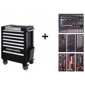 Servante d'atelier 7 tiroirs 189 outils COMPLETO EVA3 - P407 + lampe offerte KRAFTWERK