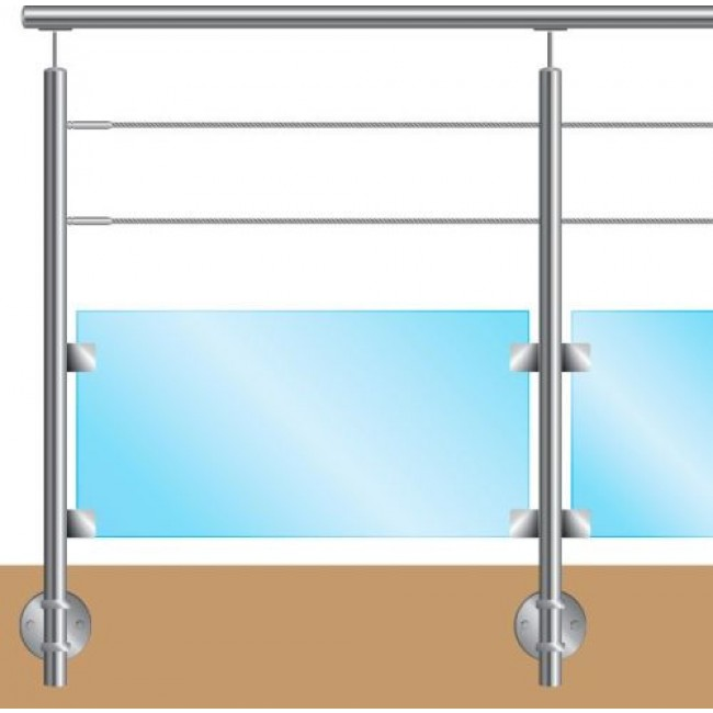 Kit garde corps - pour câbles et verre - fixation à l'anglaise - inox Design Production