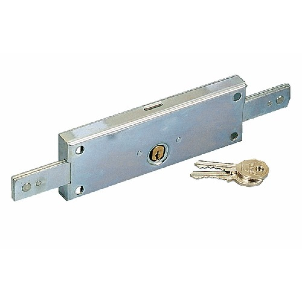 Serrure de rideau m tallique 4517n cylindre rond vachette bricozor - Poignee serrure porte de garage ...