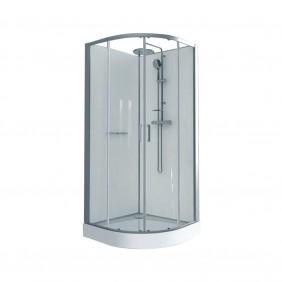 Cabine de douche 1/4 de rond à portes coulissantes Kara - 90x90cm LEDA