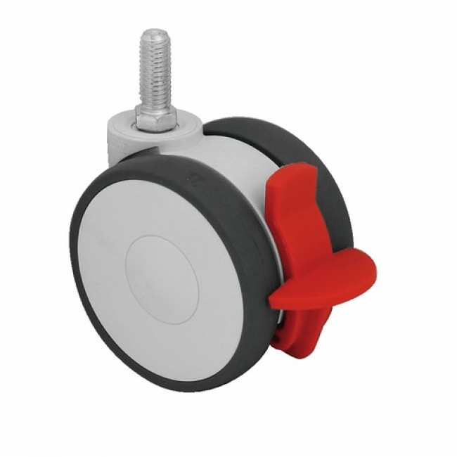 Roulette collectivité, bande polyamide, sur tige filetée, roue pivotante et blocage TENTE