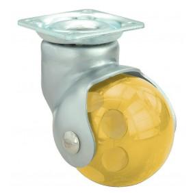 Roulette forme de bille BLS Jaune 50mm sur platine - 40kg ALEX
