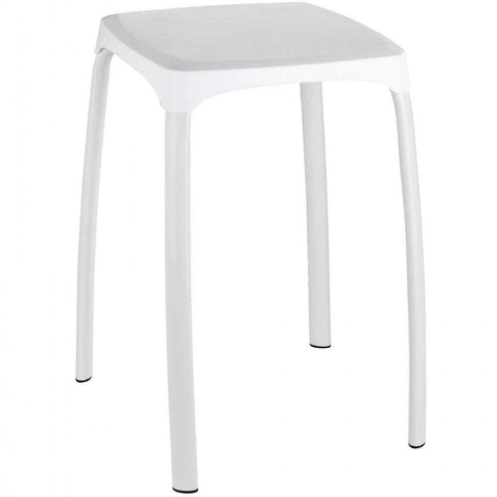 Tabouret pour salle de bain pieds acier assise ABS blanc - Losani WENKO sur  Bricozor