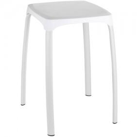 Tabouret pour salle de bain pieds acier assise ABS blanc WENKO