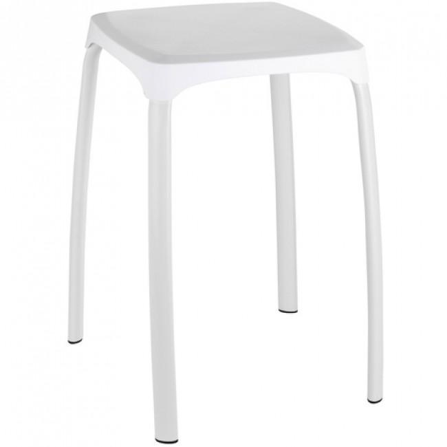 Tabouret pour salle de bain pieds acier assise ABS blanc - Losani WENKO