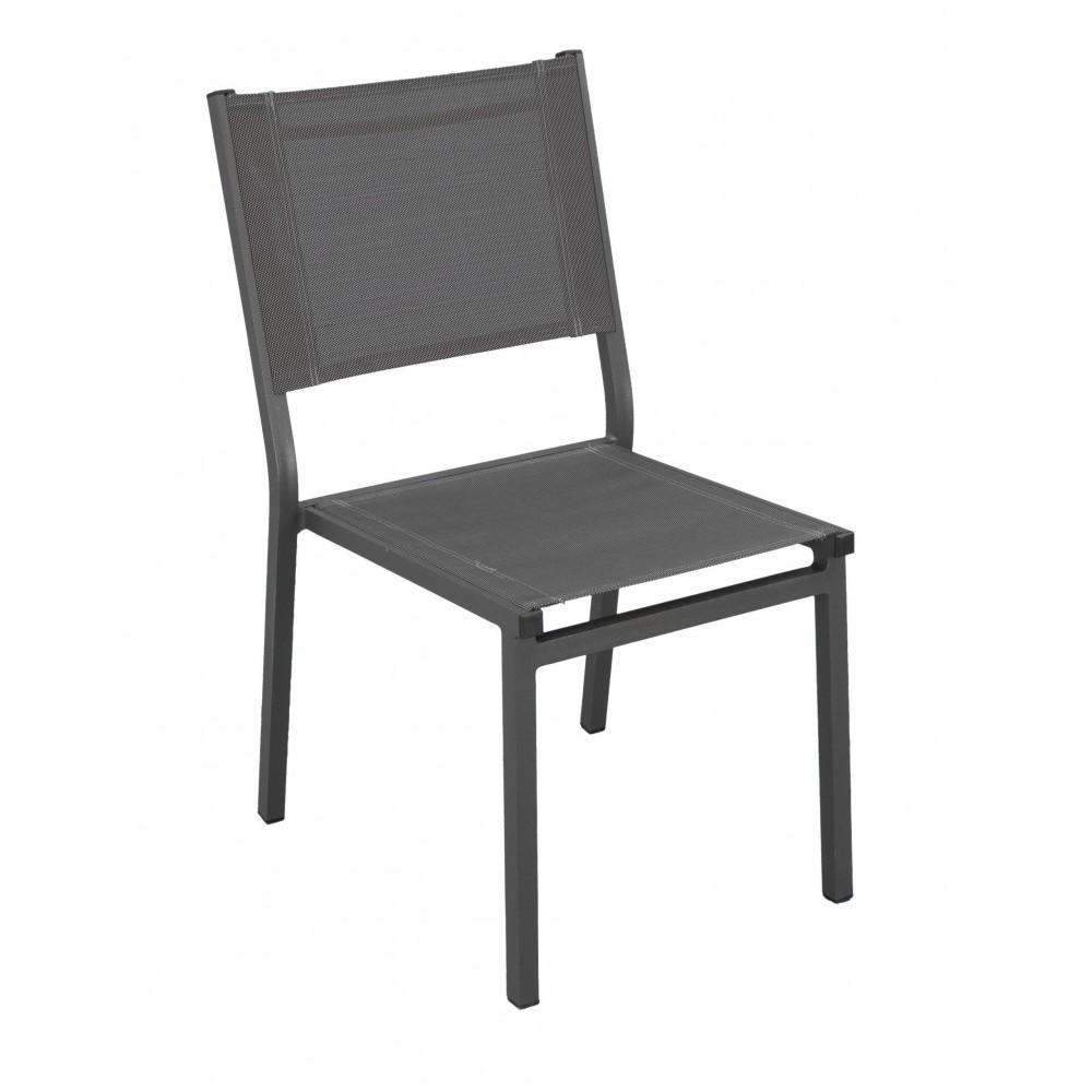 Lot De 2 Chaises De Jardin Aluminium Textilene Gris Fonce Sinawa Indoor Outdoor Sur Bricozor