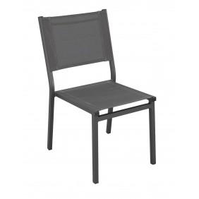 Lot de 2 chaises de jardin aluminium - textilène gris foncé - Sinawa INDOOR OUTDOOR