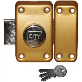 Verrou en applique s'entrouvrant - bouton et cylindre - bronze ISEO CITY