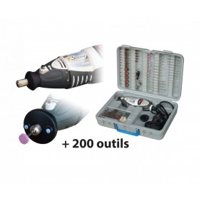 Coffret perceuse XSPEED 135W + lampe + 200 outils MAXICRAFT