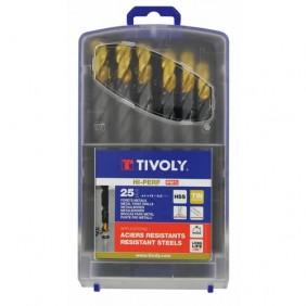 Coffret 25 forets métaux HSS - queue cylindrique 3 méplats - Steam Tin TIVOLY