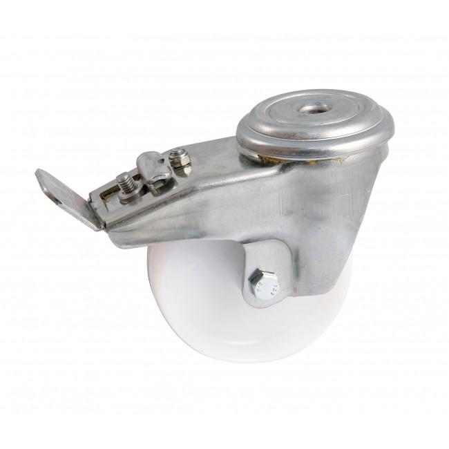 Roulette polyamide sur oeil inox pivotant à frein - chape renforcée AVL