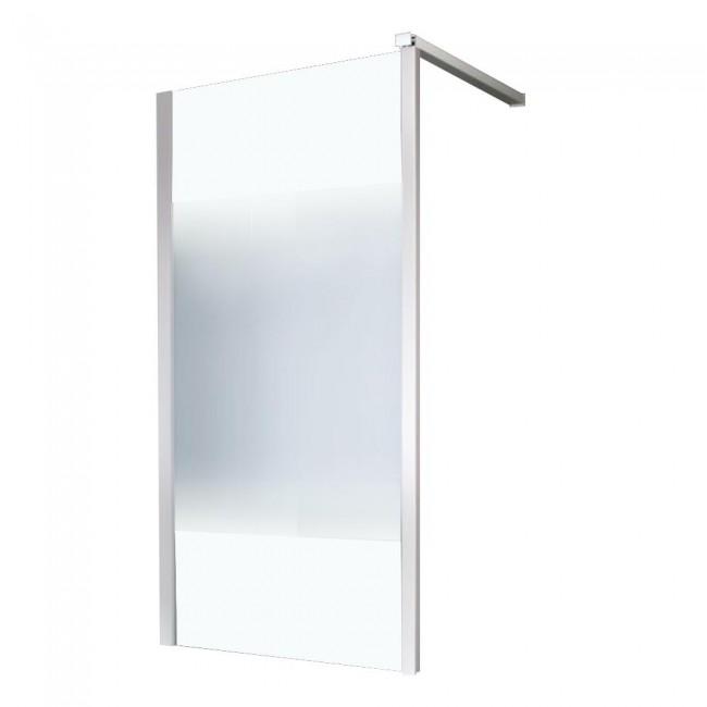 Paroi fixe - 90 cm - pour montage d'angle - profilé blanc LEDA