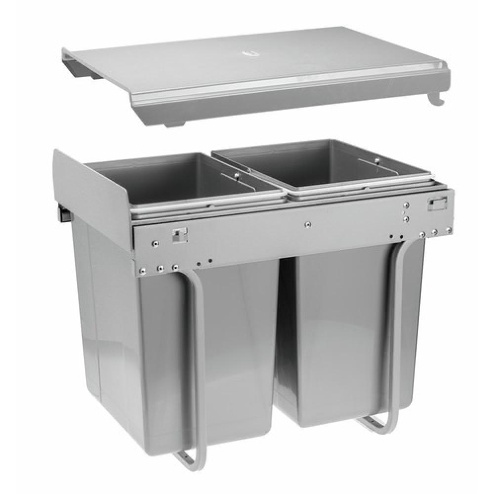 poubelle coulissante 2 bacs 20 litres-practi eco-fixation sur le