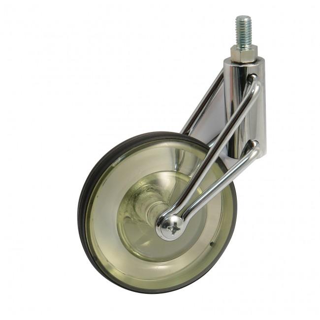 Roulette de meuble pivotante sur tige filetée - roue vert translucide AVL