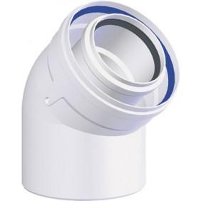 Coude à 45° pour chaudière à ventouse PPs/Galva - diamètre 60/100 TEN