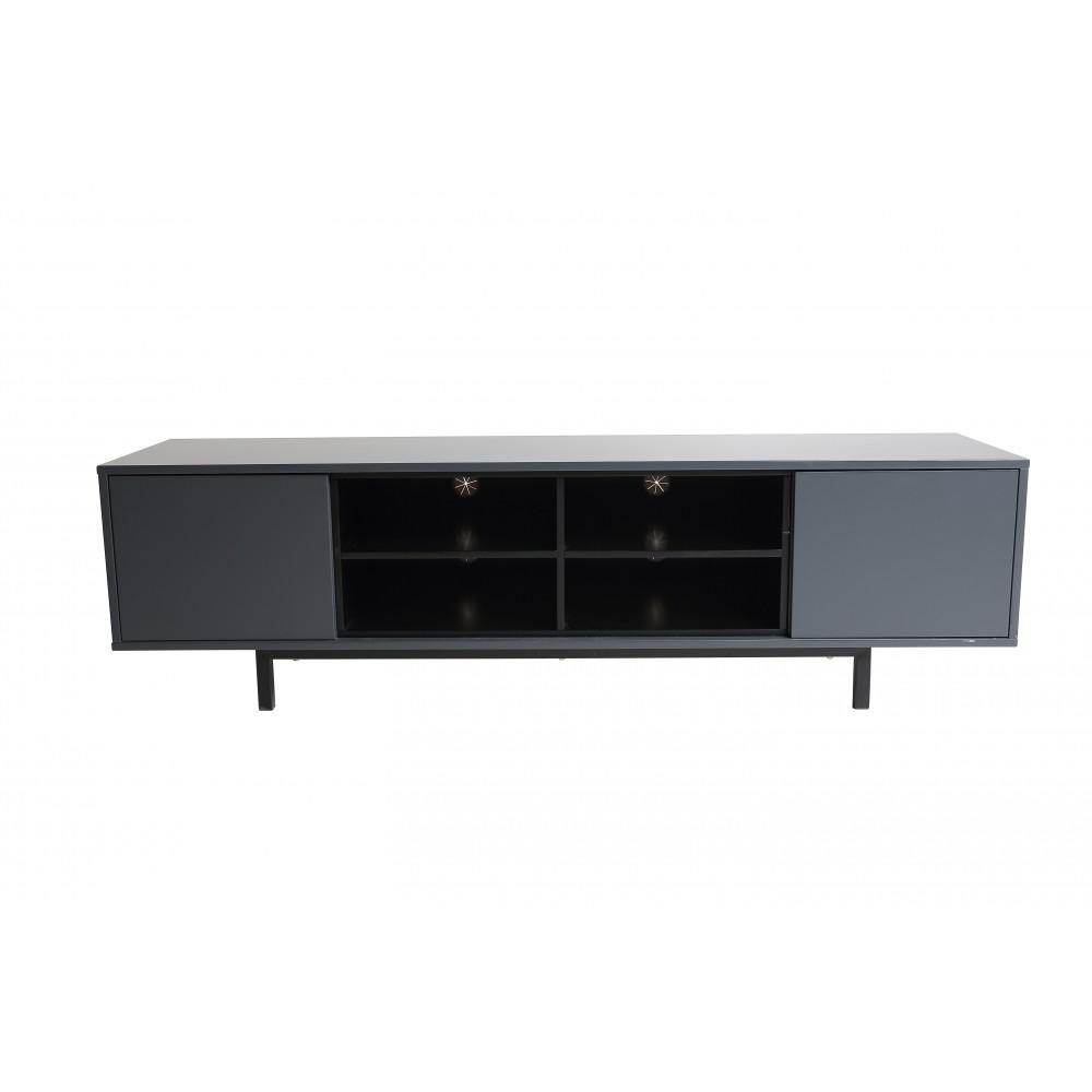 Meuble TV bois 2 portes 1 étagère gris anthracite Home Deco | Bricozor