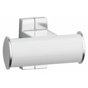 Porte-peignoir -  2 têtes blanc/chromé mat - Arsis PELLET ASC
