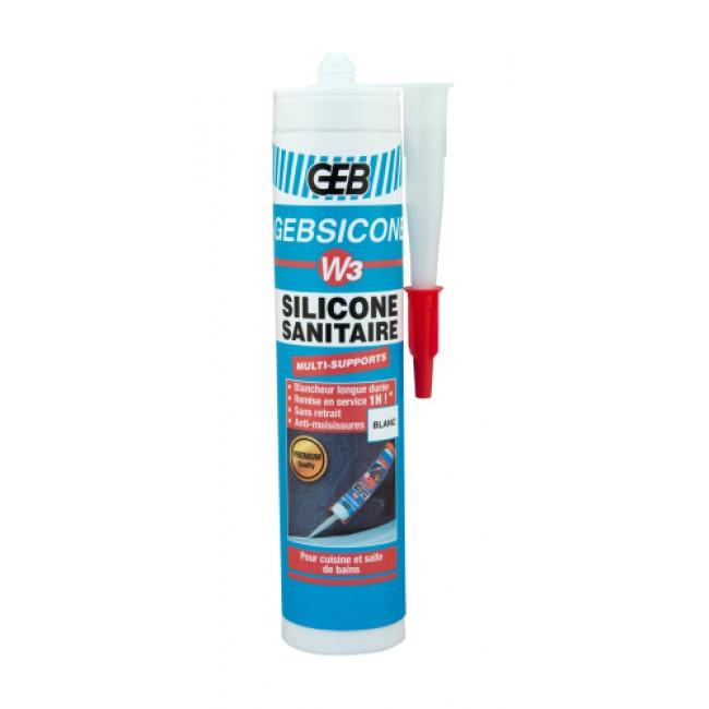 Mastic sanitaire W3 - silicone acétique - traité fongicide - 280 ml GEB