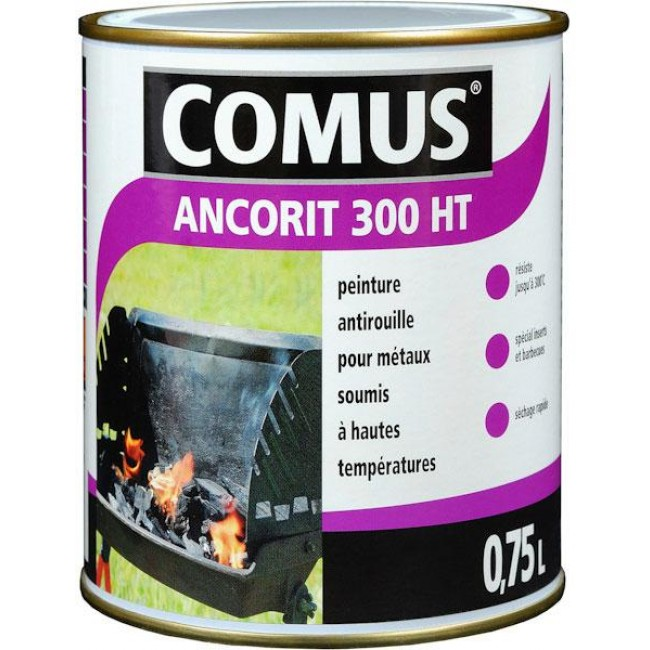 Peinture antirouille noir - haute temperature - 0,75 L - Ancorit 300 ht COMUS