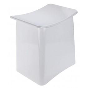Tabouret/Panier à linge design pour salle de bain - ABS blanc WENKO