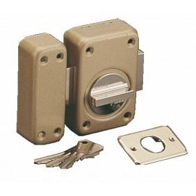 Verrou en applique de sûreté - à bouton et cylindre varié- V 136 VACHETTE