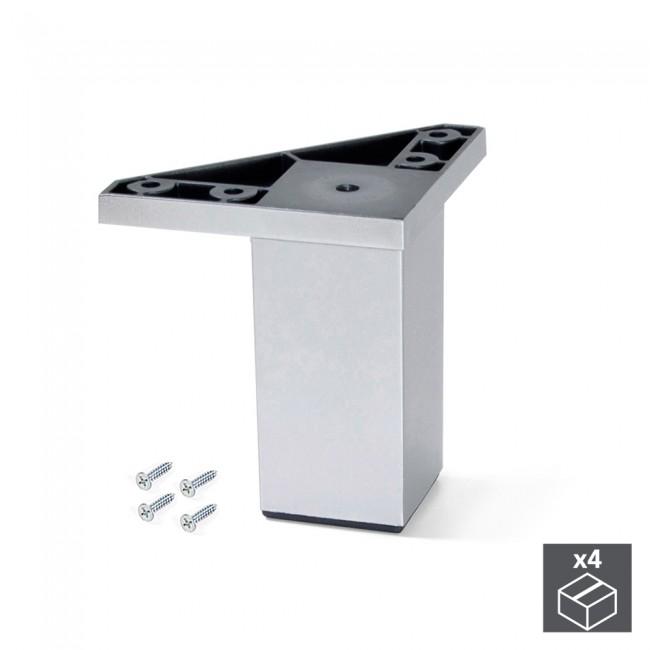 Kit 4 pieds Alumix1 pour meubles - gris métallisé EMUCA