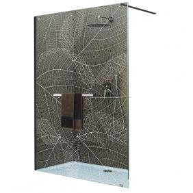 Paroi de douche fixe - Sérigraphié végétale - Profilé argent brillant - Frisbee LEDA