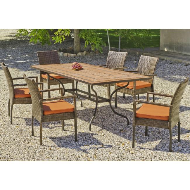 Table de jardin Liborne : 1 table+ 6 fauteuils et coussins HEVEA