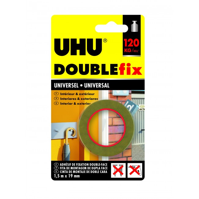 Ruban adhésif Doublefix Extra Fort universel invisible - 1,5 m x 19 mm Uhu