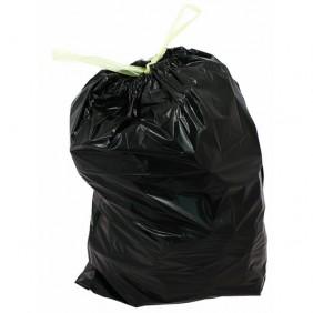 Sac poubelle avec lien coulissant - noir - 50 litres