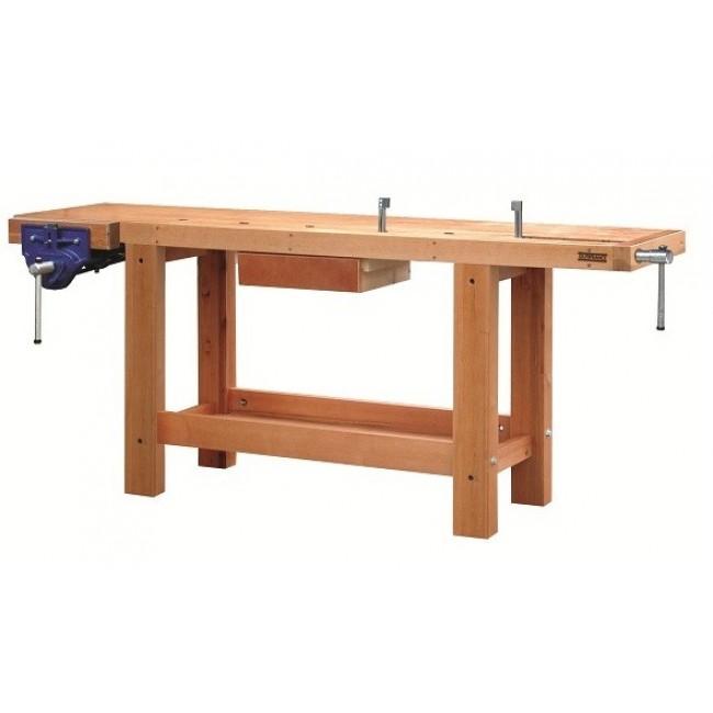 Etabli bois - ébéniste - professionnel - 2 m - 1 tiroir - 2 presses OUTIFRANCE