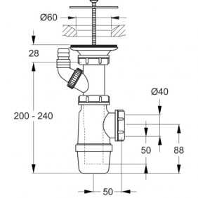 Bonde à grille - Ø 60 mm - pour lavabo collectif PORCHER