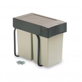 Poubelle de tri sélectif avec couvercle automatique -  2 bacs de 14 litres EMUCA