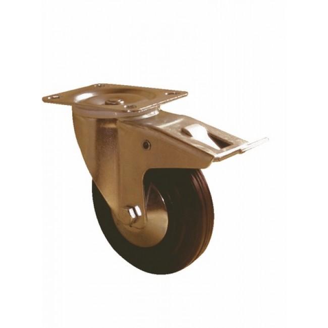 Roue pivotante sur platine avec blocage - Manu-roll GUITEL