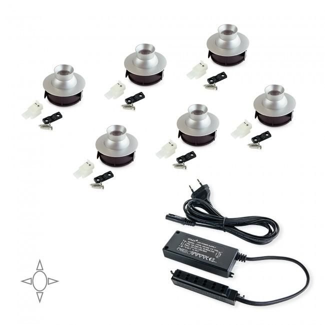Kit de 6 spots LED encastrables Merak - anodisé mat EMUCA