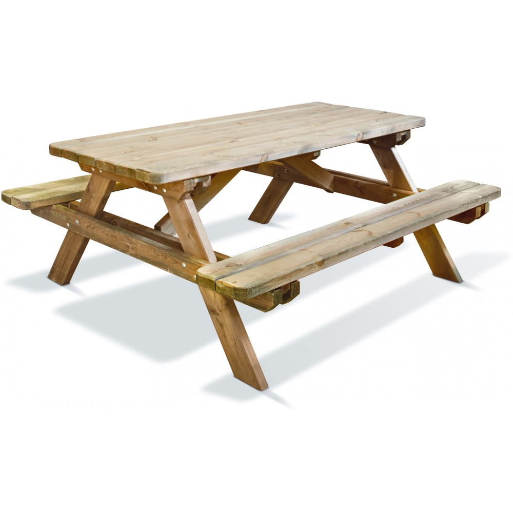 table pique nique en bois longueur 180 cm robuste jardipolys bricozor. Black Bedroom Furniture Sets. Home Design Ideas