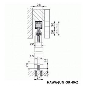 Système porte coulissante Junior 40-vantail 40 kg HAWA