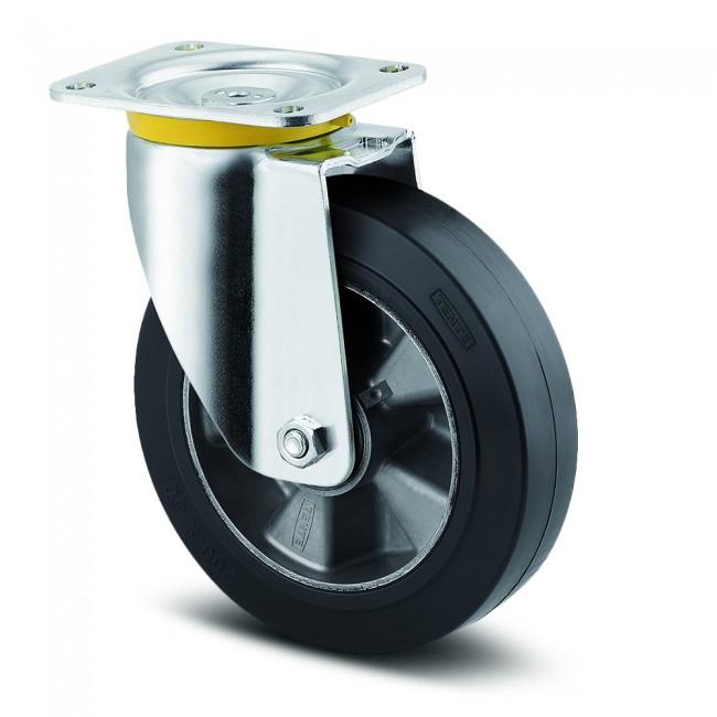 Roulette pivotante caoutchouc - à platine - charge lourde - Zeta TENTE