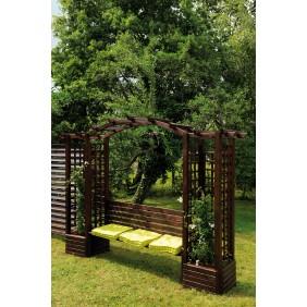 Pergola en bois avec banc et bacs à fleurs - longueur 233 cm - Florence JARDIPOLYS
