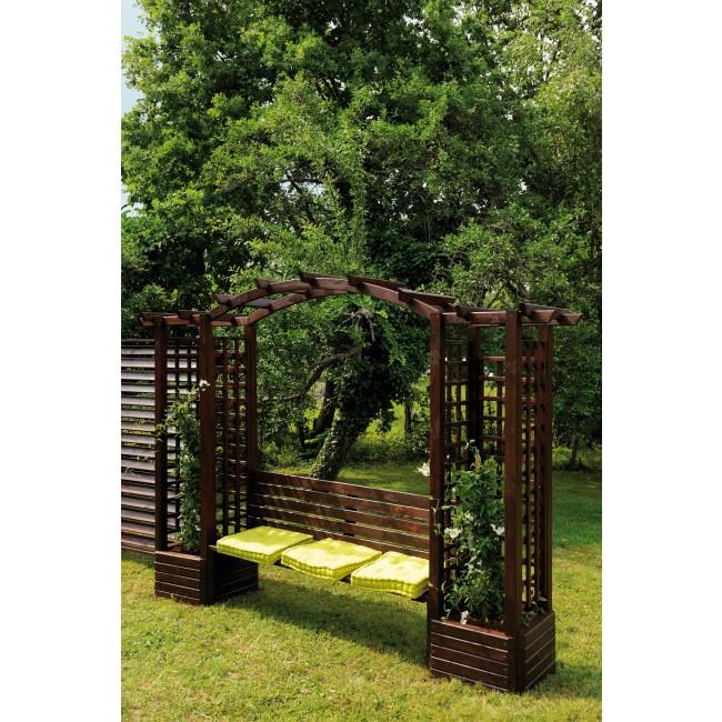 pergola en bois avec banc et bacs fleurs longueur 233 cm florence jardipolys bricozor. Black Bedroom Furniture Sets. Home Design Ideas