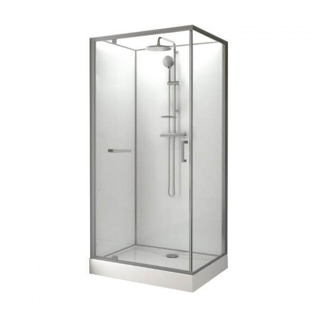 Cabine de douche rectangulaire - 100 x 80 cm - porte pivotante - Kara LEDA