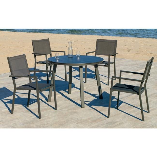 Lot de 2 fauteuils jardin - tissus textilene - ROMA HEVEA
