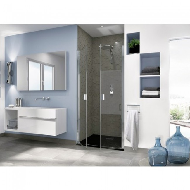 Portes de douche pivotantes sans profilés horizontaux - Smart OT 2P KINEDO