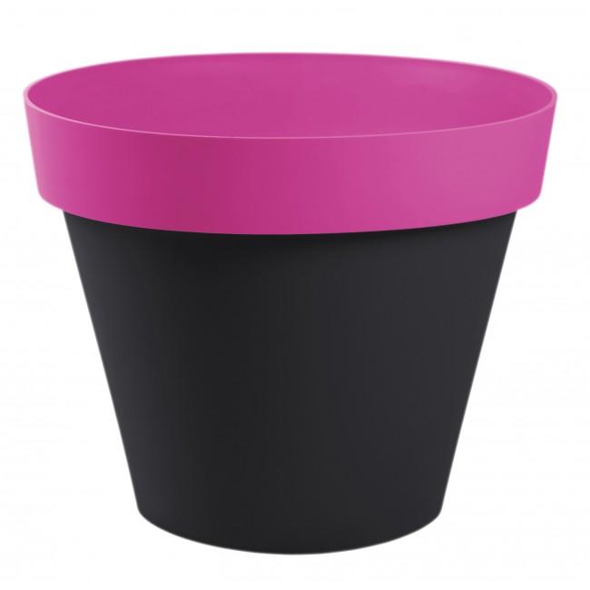 Pot anthracite fuschia rond - diamètre 60 cm -  76 litres - Style 13686