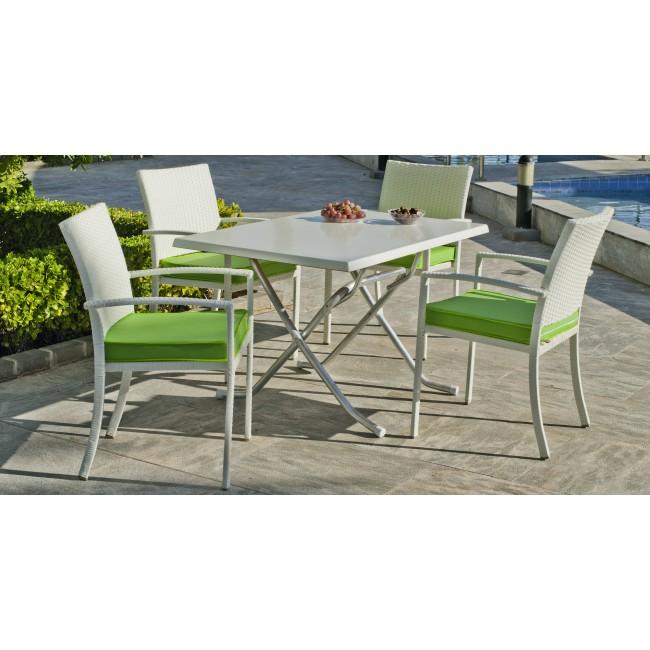 Table de jardin Hevegalite 1280 : 1 table, 4 fauteuils et coussins HEVEA