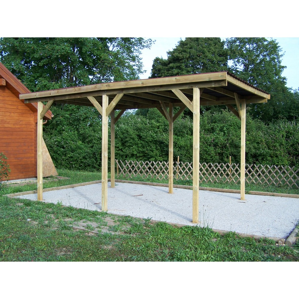 carport 1 voiture en bois toit plat ka 3050 g habrita bricozor. Black Bedroom Furniture Sets. Home Design Ideas